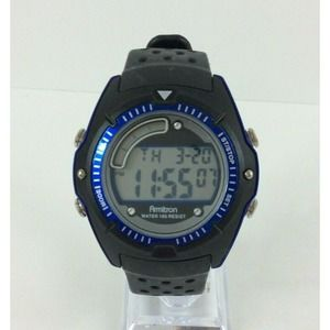 Armitron All Sports Watch Black Band Blue Date/Day